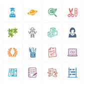 School & Education Icons Set 5 - Colored Series — Stock Vector