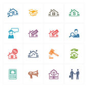 Real Estate Icons - Colored Series — Stock Vector