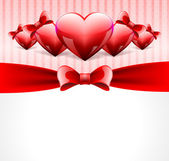 Postcard with glossy hearts — Vector de stock