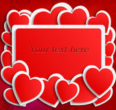 Red postcard with hearts on red — Stockvektor