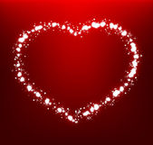Glowing heart on dark red background — Stockvector