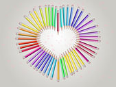 Pencils-heart — Stock Vector