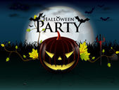 Halloween party with evil pumpkin — Stock Vector