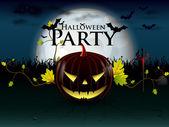 Halloween party with evil pumpkin — Stock Vector