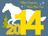 Christmas 2014 with Horse — Stock Vector