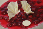 Cheese cake with raspberry and marzipan in jelly — Stock Photo