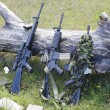 Military weapons for airsoft in a clearing near a wood - Stock Photo