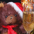 Santa Bear with a glass of champagne — Stock Photo