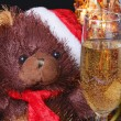 Santa Bear with a glass of champagne - Stock Photo