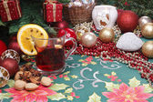 Christmas and serve a delicious mulled wine — Stock Photo