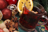 Christmas and serve a delicious mulled wine with decoration — Stock Photo