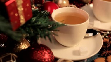 Christmas tree and tea with decoration — Stock Video