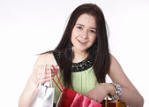 Young girl enjoys shopping — Foto Stock