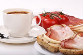 Coffee, sandwich and bacon — Stock Photo