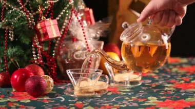 Tea and Christmas — Stock Video
