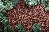 Albero di Natale e sfondo di caffè — Foto Stock