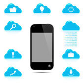 Touchscreen Smart Phone with Cloud of Application Icons — Stock Vector