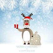Cute Rudolph Reindeer - Illustration — Stock Vector