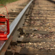 Old Time lamp on Track — Stock Photo
