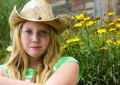 Young girl in cowboy hat. — Stock Photo