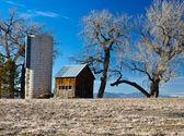 Starý statek v poli colorado. — Stock fotografie