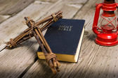 Bible and Wooden Cross — Stock Photo