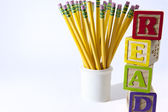 Wooden Blocks with yellow pencils for back to school — Stock Photo