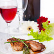 Stock Photo: Raw meat, wine and spices on wooden board