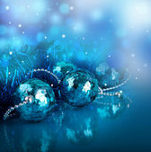 New Year's card with blue balls and a streamer — Stok fotoğraf