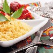 Couscous with green-stuffs and Arabic tableware — Stock Photo
