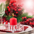 Christmas table layout — Stock Photo