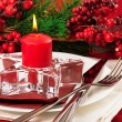 Christmas table layout — Stockfoto