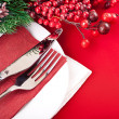 Christmas table layout — Stock fotografie