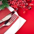 Christmas table layout — Lizenzfreies Foto