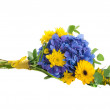 Bouquet from blue hydrangeas and yellow asters, a flower background — Stock Photo #16250121