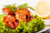 Salad from a fried salmon with a lemon and fennel — Stock Photo