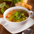 Royalty-Free Stock Photo: Vegetable broccoli soup and carrots, bread with fennel