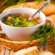 Vegetable broccoli soup and carrots, bread with fennel — Stock Photo