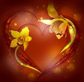 St. Valentine's Day, heart from orchids and butterflies — Stock Photo
