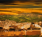 Morocco, a landscape of a city wall in the city of Fes — 图库照片