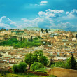Morocco, a landscape of a city wall in the city of Fes - Stock Photo