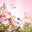 Stock Photo: Gentle bouquet from pink roses and butterfly