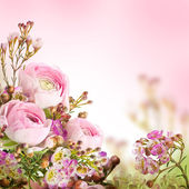 Gentle bouquet from pink roses and small flower — Stock Photo