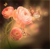 Strauß rosa rosen gegen einen dunklen hintergrund schmetterling — Stockfoto