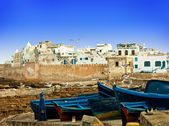 Blue fishing boats in Morocco — Stock Photo