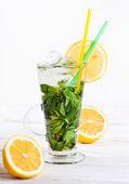 Un verre de mojito cocktail à la menthe, citron et glace — Photo
