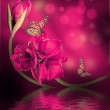 Orchids with a butterfly — Stock Photo