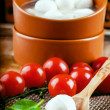 Mozzarella, tomatoes and bread — Stock Photo