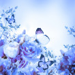 Bouquet of blue roses and butterfly — Stok fotoğraf