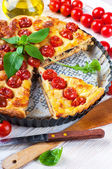 Pie with mozzarella, chicken and tomatoes — Stock Photo